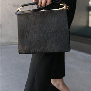 Vintage crocodile leather clasp bag